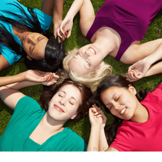 ladies doing body scan meditation to cope stress and anxiety.